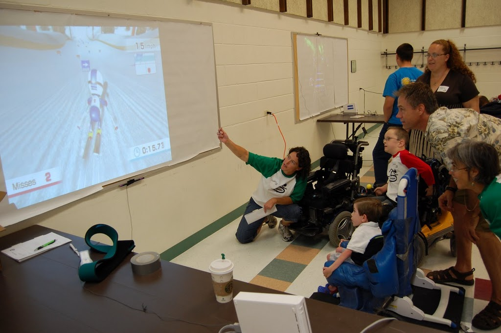 Children with disabilities playing video games